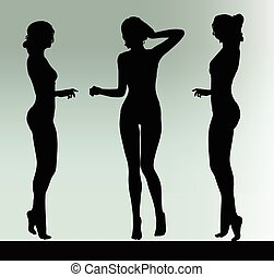 escutar, mulher, silueta, gesto, mão