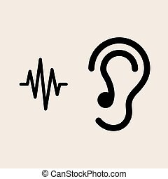 escutar, orelha, ícone