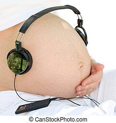 escutar, para, um, música