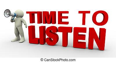 escutar, tempo, -, homem, 3d