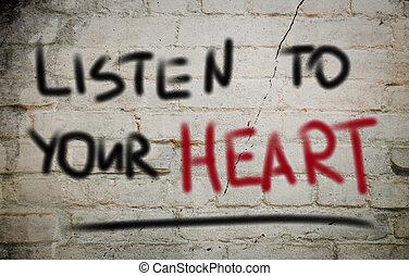 escute, seu, coração, conceito
