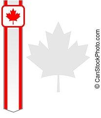 esdoorn blad, canadees, frame, vlag, kaart, letter., rood