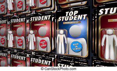 esecutore, studente, render, cima, illustrazione, cultura, educazione, meglio, 3d