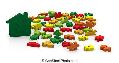 esecuzione, costruzioni, puzzle, energia