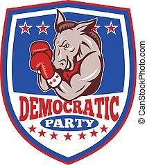 esel, maskottchen, schutzschirm, demokrat