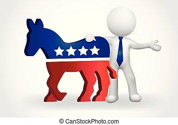 esel, usa, leute, demokraten, klein, 3d