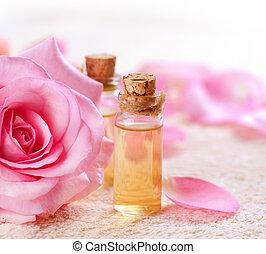 esencial, aromatherapy., botellas, balneario, rosa, aceite