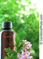 esencial, botella, geranio, aceite