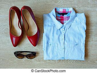 esencial, moda, mujer, objetos