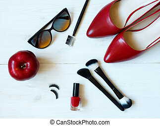 esencial, moda, mujer, objetos, en, de madera, plano de fondo
