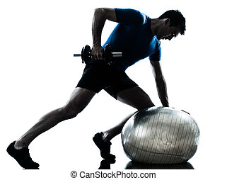 esercitarsi, allenamento, peso, uomo, addestramento, ...