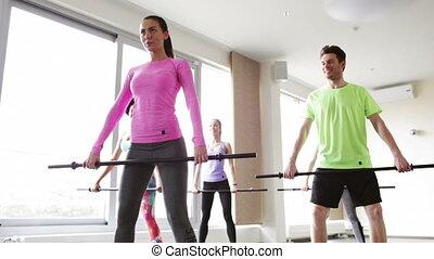 esercitarsi, barre, gruppo, palestra, Persone