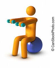 esercitarsi, con, palla idoneità