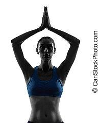 esercitarsi, ritratto, donna, accomunato, yoga, mani