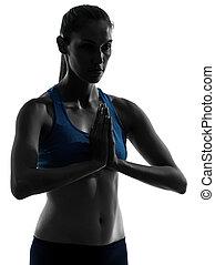 esercitarsi, ritratto, meditare, donna, yoga, mani unite