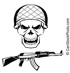 esercito, cranio, arma