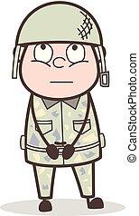 esercito, illustrazione, faccia, vettore, ufficiale, innocente, espressione, cartone animato