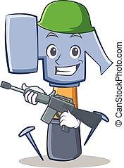 esercito, martello, carattere, cartone animato, emoticon