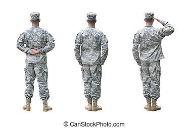 esercito, soldato, in, tre, posizioni, isolato, bianco, fondo