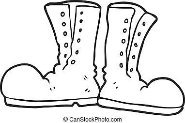 esercito, stivali, nero, bianco, baluginante, cartone animato