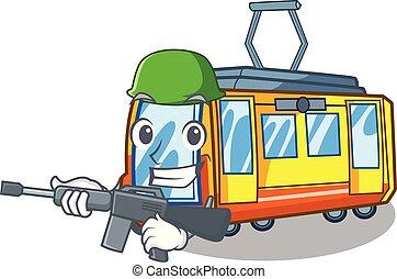 esercito, treno elettrico, in, il, carattere, forma