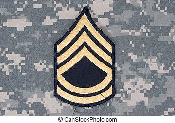 esercito, uniforme, con, sergente, rango, pezza