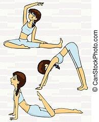esercizi, carino, donna, yoga, cartone animato