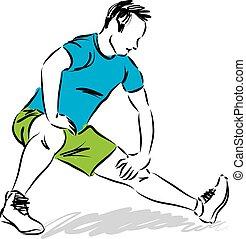 esercizi, illustrati, uomo, stiramento