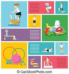 esercizi, palestra, persone