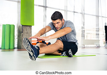 esercizi, palestra, stiramento, uomo