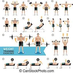 esercizi, training., dumbbell, peso