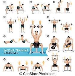 esercizi, wei, dumbbell, allenamenti