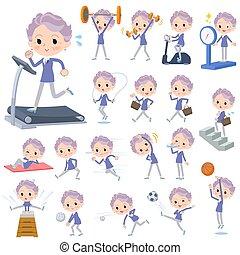 esercizio, blu, vecchie donne, pezzo, sport, &