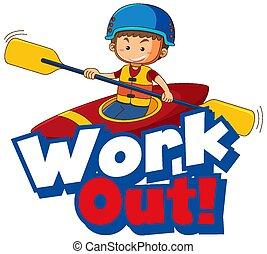 esercizio, font, parola, disegno, lavoro, capretto, fuori
