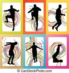 esercizio, stiramento, su, uomo, warming