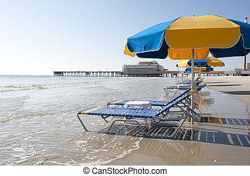 esernyők, tengerpart, daytona, henyél, &