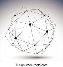 esférico, abstratos, único, cor, alinhado, 3d, ilustração,...