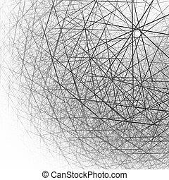 esférico, branca, pretas, estrutura, 3d