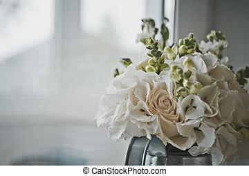 esférico, buquet, branca, 7773., flores