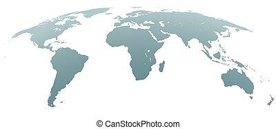 esférico, curvado, cinzento, mapa mundial