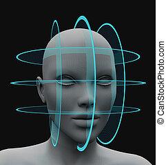 esférico, exploração, cabelo, sem, facial, reconhecimento
