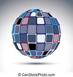 esférico, gris, urbano, objeto de metal, kalei, espejo, fractal, ball., 3d