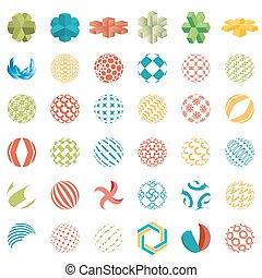 esférico, logotipos, ícones negócio, universal, abstratos