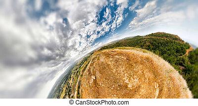 esférico, paisaje de montaña
