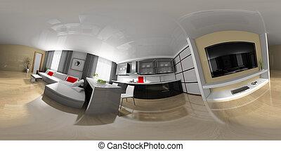 esférico, panorama, desenho, sala