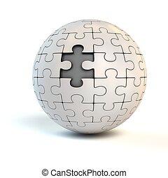 esférico, parte jigsaw, ausente