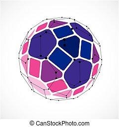 esférico, pentagons., poly, design., tela, uso, púrpura, wireframe, forma, polygonal, enrejado, bajo, digital, geométrico, 3d, pelota, forma, objeto, malla, utilizar, hecho, creado, líneas, facets., vector