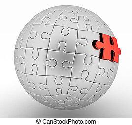 esférico, quebra-cabeça, ilustração, 3d