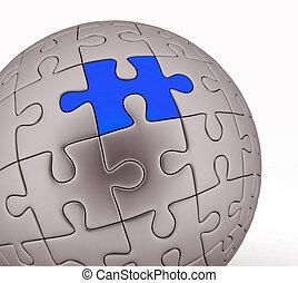 esférico, quebra-cabeça, ilustração