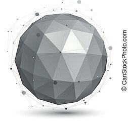 esférico, tec, objeto, dimensional, vetorial, eps8, digital, monocromático